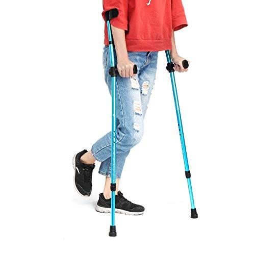 ZLJ Muleta Ajustable bastón ergonómico de Aluminio Altura Ajustable antebrazo Codo Debajo del Brazo bastón telescópico Plegable Azul 1 Pieza