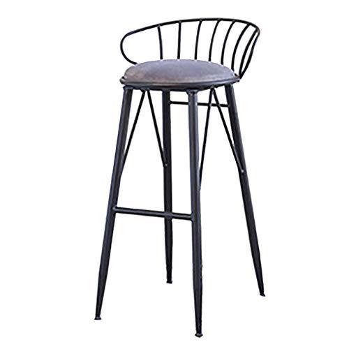 Hohe Hocker Gold Metal |Barhocker mit Rückenlehne für die Küche | Samtkissen | Moderne Esszimmerstühle |Farbe: pink, grau