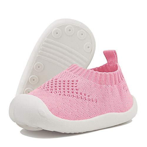 DEBAIJIA Bebé Primeros Pasos Zapatos 1-4 años Niños Niñas Infante Suave Suela Antideslizante Malla Transpirable Ligero 20 EU Rosa Claro (Tamaño de la etiqueta-16)