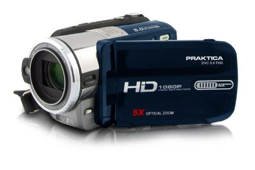 Praktica DVC 5.4 HD-Camcorder (Flash-Speicher, 5-Fach optischer Zoom, 7,6 cm (3 Zoll) Display, HDMI-Kabel und Tasche)