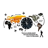 World Map Wall Clock, Modern Decorative Wall Clocks for Living Room Decor, Acrylic Hanging Clock, Creative Wall Art Decoration for Home Bedroom Office (E)