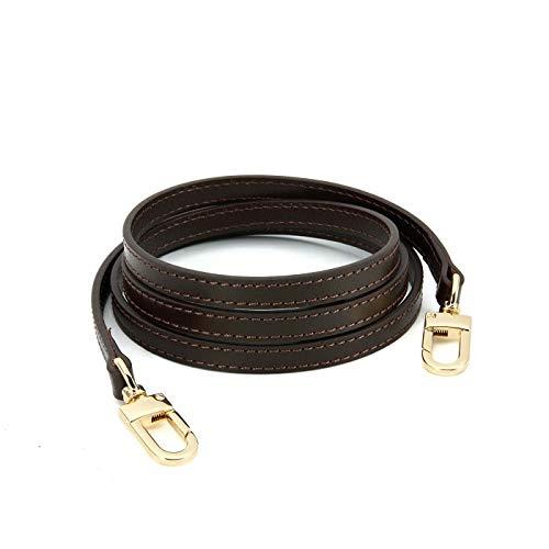 Genuine Leather Cross Body Strap for Alma BB Damier Ebene Pochette Eva Favorite PM MM Mini 10mm Coated Dark Brown with Gold Hardware (Brown120cm Gold HW)