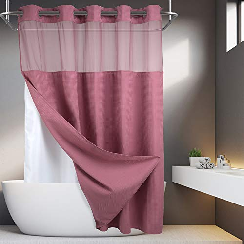 Duschvorhang, Waffelgewebe, ohne Haken, mit Einrast-Futter, 71 x 74 cm, Hotel-Qualität, Wellness-Stil, Badvorhang, blasses Mauve