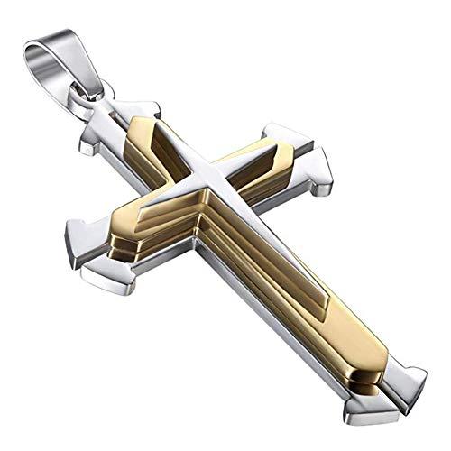 AIUIN Edelstahl Kreuz Ketten Titanstahl Anhänger für Männer Herren Kette Jungen Kreuz (Stil 1, Gold)