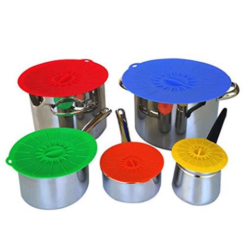 Elástico, ensalada, cubiertas, tapas mágicas, flexibles, tapas miricales, eco, 5 piezas de silicona fresca cubierta tazón olla tapa bandeja alimentos envoltura herramienta utensilios de cocina