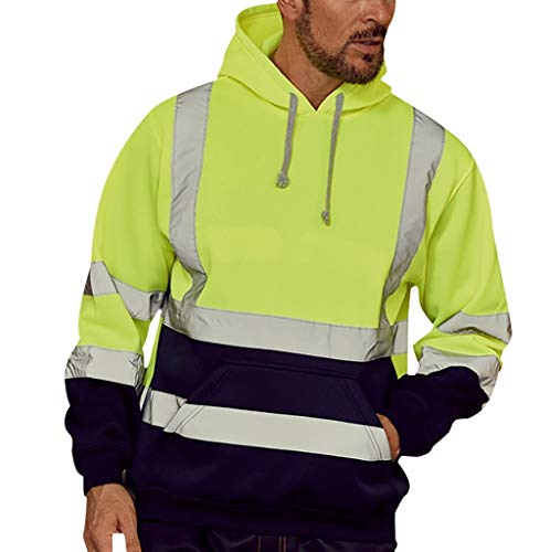 jin&Co Men Sweatshirts Long Sleeve Road Work High Visibility Casual Hooded Jackets Sport Tops with Pockets Pullover Green