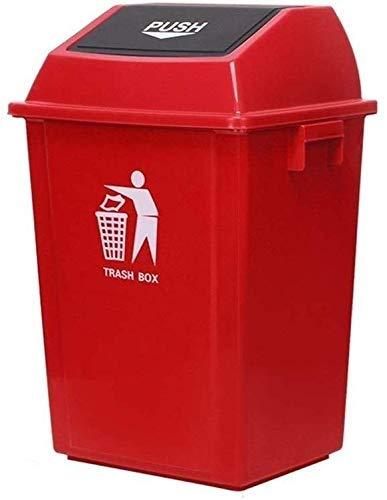 Cubo de basura Factory Basurero 60 litros 100 litros Cubo de basura con tapa Plástico Color múltiple Cubo de basura al aire libre Escuela The Mall Hotel Colección Papelera (Color: Rojo Tamaño: 60L)
