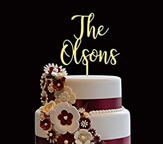 Personalized Wedding Cake Topper, Wooden Cake Toppers, Customized Wedding And Last Name Cake Topper