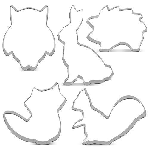 KENIAO Wald Ausstecher Set Fondant Brot Ausstechformen für Kinder - 5 Stück - Fuchs, Eule, Hase, Lgel und Eichhörnchen Keksausstecher - Edelstahl