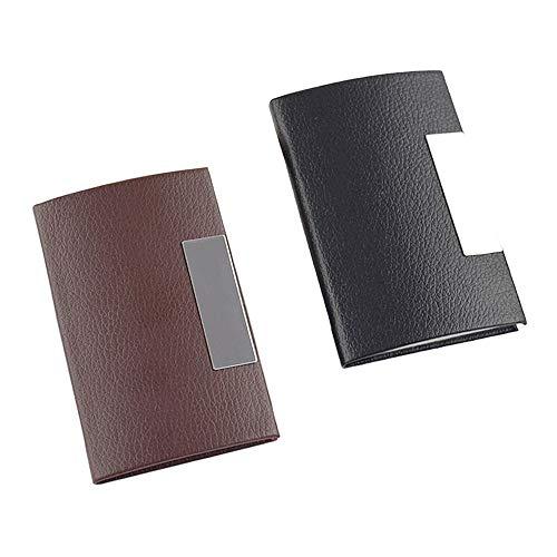 Huture 2 stycken visitkort etui Edles kortfodral visitkort box butiker korthållare visitkortshållare kreditkort etui telefonkort låda present för kvinnor och män (brun, svart)