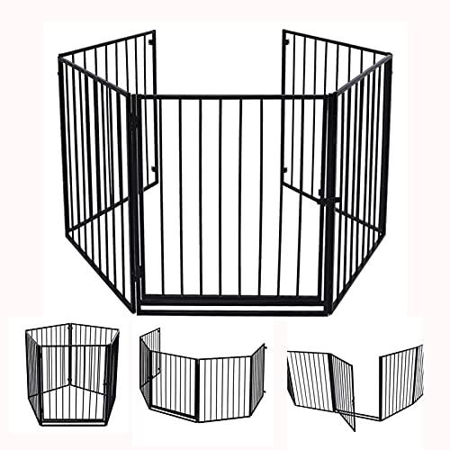 Rejilla de protección para chimenea, metálica, rejilla de protección infantil con 5 elementos, parque con puerta de seguridad, rejilla plegable de protección para mascotas, 310 x 75 cm, color negro
