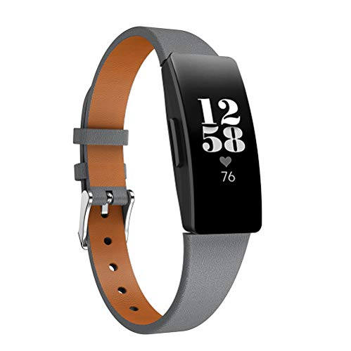TenCloud Correas compatibles con Fitbit Inspire 2 Correa, pulsera de repuesto de piel fina para Inspire 2/Inspire/Inspire HR Fitness Tracker (gris)