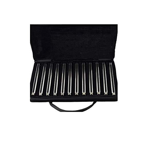 24 hoyos y 28 hoyos armónica trémolo, Adulto Profesional de juego 7-tono y 12 tonos Traje, Full-tecla Set Caja de regalo, Actuación, Competición, plata, oro (color: oro-7 puestas a 24 hoyos) kyman