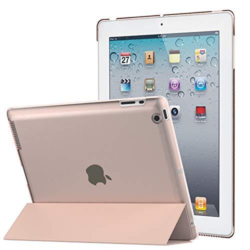 MoKo Funda para iPad 2 / 3 / 4 Ultra Ligera Delgada con función de Soporte y Parte Trasera translúcida Mate para iPad 2 / iPad 3 (3ª Gen)/iPad 4, Oro Rojo (con Encendido y Apagado automático).
