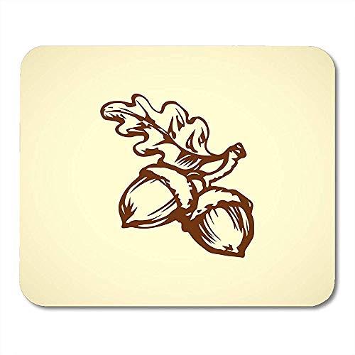 Mousepad Zwei Große Reife Rohe Frische Geschmackvolle Robur Quercus-Hülsen-Weiße Freihandentwurfs-Tinte Flüchtig Im Retro Gekritzel-Stift Mausunterlage Matten 25X30Cm