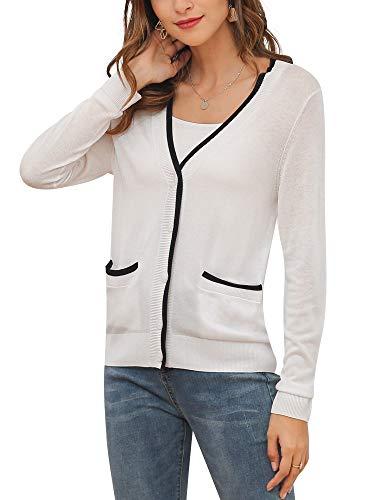 MessBebe Cardigan Mujer Rebeca V Cuello Jersey Invierno con Botones Blusa Manga Larga Chaqueta de Punto Cardigans Mujer Jerseys con Bolsillos