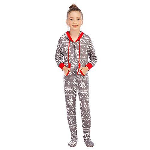 DUOMI Pajamas Pijama de una Pieza con Estampado navideño de otoño e Invierno para Hombres, Mujeres, niñas, niños, Pijamas navideños para Padres e Hijos, Traje de Manga Larga