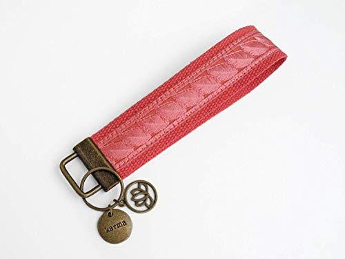 Schlüsselanhänger »Karma« | Baumwolle mit Jacquardborte | Farbe: Himbeer-Rot | 3,2 cm x 16.5 cm