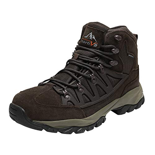 NORTIV 8 Men's Waterproof Hiking Boots Outdoor Mountaineering Trekking Mid Backpacking Shoes Brown Size 9 M US JS19002M