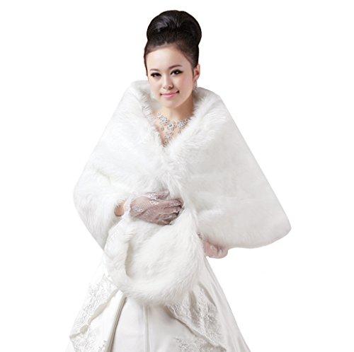 FakeFace Winter Damen Brautzusatz Kunstpelz Hochzeit Lange Braut Schal Brautschal Cape Brautjacke Stola-Schal Beige