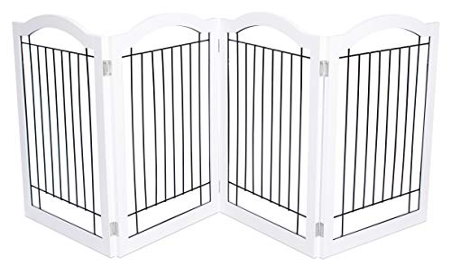 Internet's Best Wire Dog Gate with Arched Top - 4 Panel - 30 Inch Tall Pet Puppy Safety Fence - Fully Assembled - Durable MDF - Folding Z Shape Indoor Doorway Hall Stairs Free Standing - White