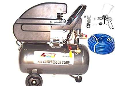 6 Gallon Air Compressor With Hvlp Spray Paint Gun 1.4 And 50 Ft Air Hose Kit from