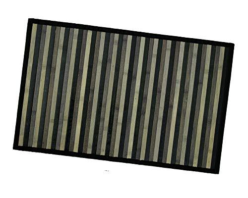Tappeto Bamboo Legno Stuoia Cucina Bagno Camera Degradè Varie Misure Tovaglietta Colazione Retro Antiscivolo MOD.Bamboo 50x275 Nero