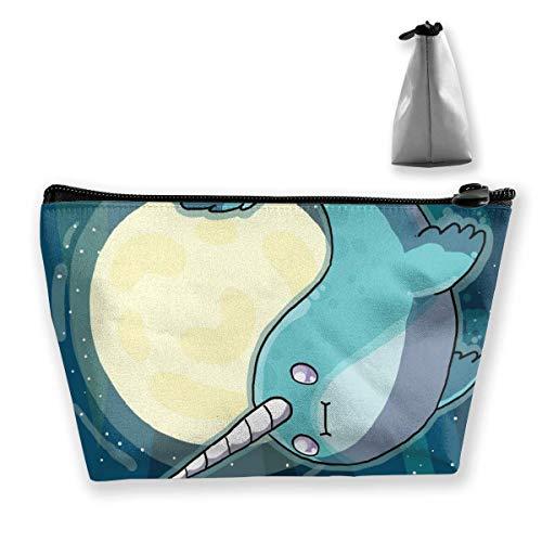 Tragbare Kosmetiktasche Gokart Space Narwhal Trapezförmige Aufbewahrungstasche mit multifunktionalem Druck für tragbare Frauen 2913