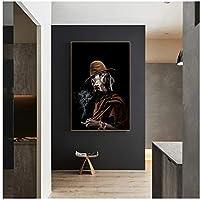 面白いアートレトロな犬の帽子喫煙キャンバス絵画ポスタープリントCuadrosウォールアートリビングルームの家の装飾40x60cm(16x24in)