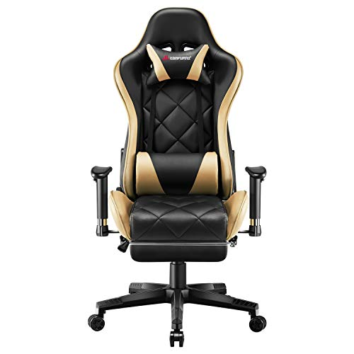 JL Comfurni Video Gaming Chair Racing Computer Chair with Footrest Ergonomic Office Desk Chair 360° Swivel High-Back Gaming Recliner with Lumbar Support Gold