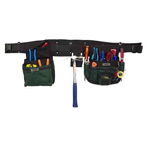 BOULDER BAG Ultimate Electrician Tool Belt with Quick Release Buckle ULT Comfort Combo 100, 32 Pockets/Slots, Green, (Extra-Large 41-44 Inch Waist), Made in USA