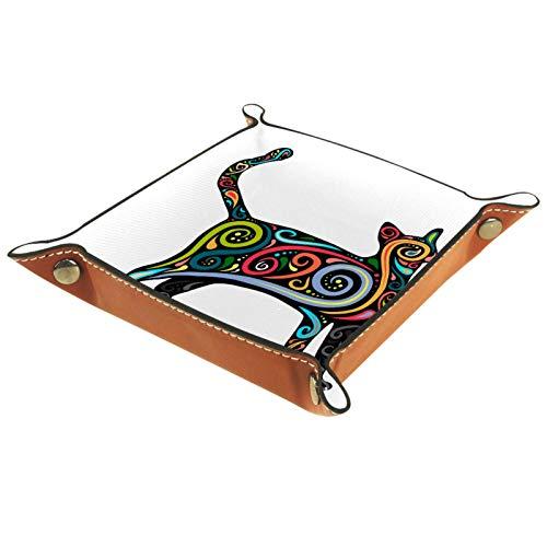 Yuzheng Arte De Gato De Color Bandeja de cajones Escritorio Papelería Artículos Diversos Gadget Organizador de Cuero Plegable Caja de Almacenamiento Contenedor de Llaves 20.5x20.5cm