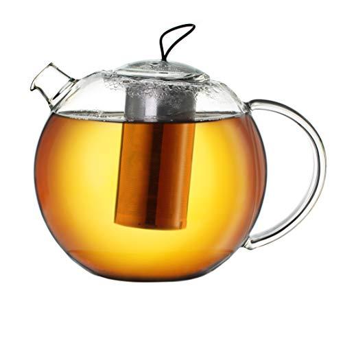 Creano XXL Teekanne Jumbo aus Glas, 3-teilige Glasteekanne im Teekannenset mit integriertem Edelstahl-Sieb & Glas-Deckel, multifunktionale Design-Glas-Teekanne, All-in-one, 2,0l
