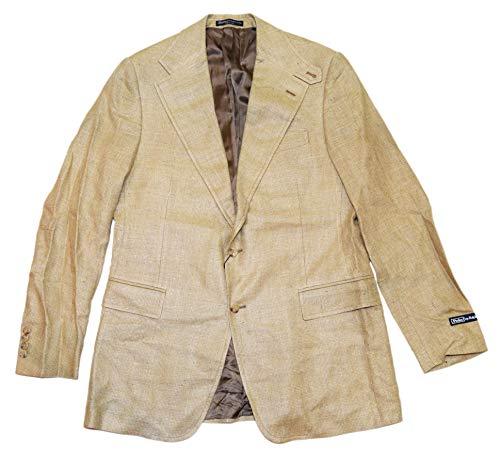 Ralph Lauren Polo Mens Silk Flax Blazer Sport Coat Italy Beige Brown 42L