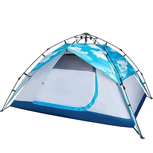 Camping Tienda UV Sombrilla Doble 3-4 Personas Camping Automático Camping Playa UV Lluvia Impermeable Doble Capa Sombrilla Tienda de Gran Tienda Impermeable (Color: Cielo Azul, Tamaño: 90.5 78.7 51.1