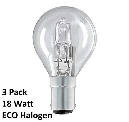 Halogen-Glühlampen, Golfball/Mini Gobe B15d G45 / P45, dimmbar, energiesparend, B15, SBC, kleiner Bajonettsockel, 240 V, 18 W = 25 W, inklusive Leuchtmittel