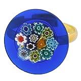 GlassOfVenice Anillo de cristal de Murano Millefiori azul multicolor de 3/4 pulgadas