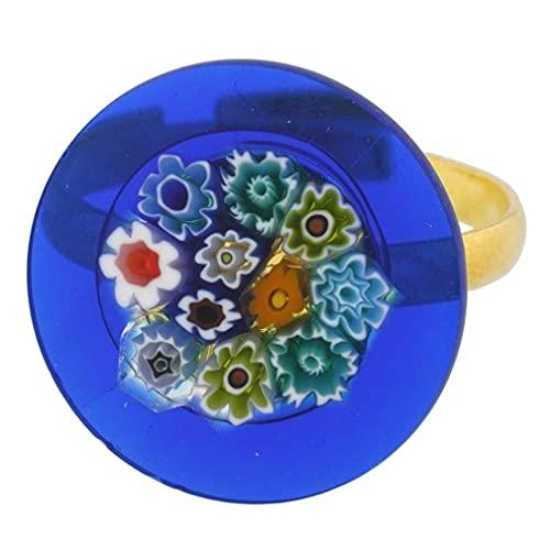GlassOfVenice Anillo de cristal de Murano Millefiori azul multicolor de 3/4...
