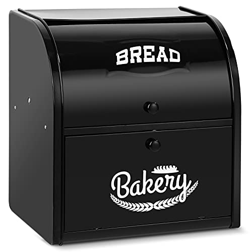 Pitmoly Stainless Steel Bread Box, 2 Layer Roll Top Bread Boxes, Large Capacity Food Storage Container for Kitchen Counter, Metal Bread Bin, Bread Holder for Countertop 12.6' x 9.7' x 12.8' (Black)