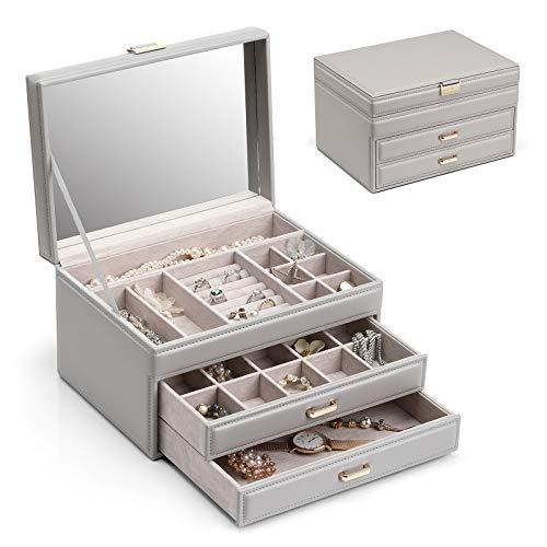 Vlando Joyero de gran capacidad, caja de almacenamiento de joyas, caja de almacenamiento de joyas con espejo, pendientes de niña/mujer, collar, pulsera (gris)