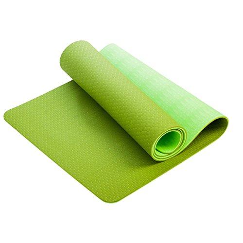 XFAY Esterilla de yoga de 6 mm de grosor, extra ligera, doble color, antideslizante, de alta resistencia, 183 cm x 61 cm con correa de transporte, material TPE respetuoso con el medio ambiente, para fitness, ejercicio, gimnasio, yoga, dormir (verde hierba + verde fluorescente)