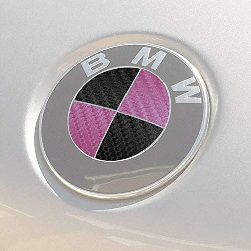 "BocaDecals Overlay Decals for 3.25"" BMW Logo Emblems Roundel (Black/Pink)"