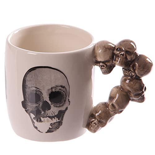 Puckator Impilati Mug en céramique avec poignée Motif tête de mort Multicolore Hauteur 9 cm Largeur 14 cm Profondeur 8,5 cm