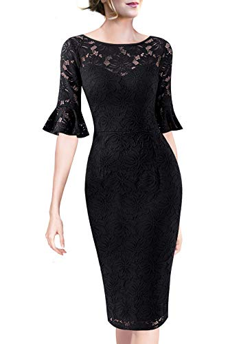 VFSHOW Womens Ruffle Bell Sleeve Work Business Cocktail Party Sheath Dress