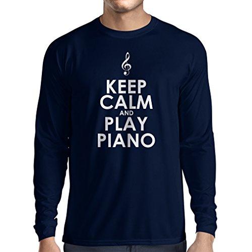 lepni.me Camiseta de Manga Larga para Hombre Mantén la Calma y Toca el Piano, para los Amantes de la música, Pianista de Regalo (Large Azul Blanco)