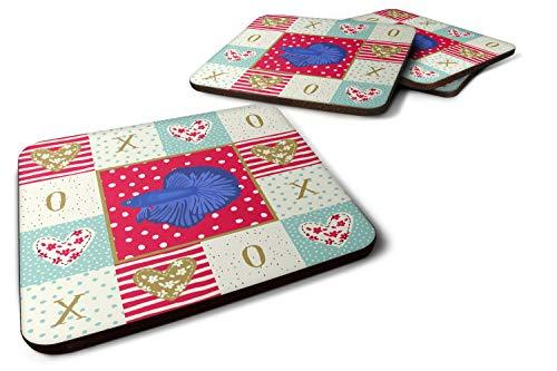 Caroline's Treasures CK5493FC Set of 4 Super Delta Tail Betta Love Foam Coasters Set of 4, 3 1/2 x 3 1/2, multicolor