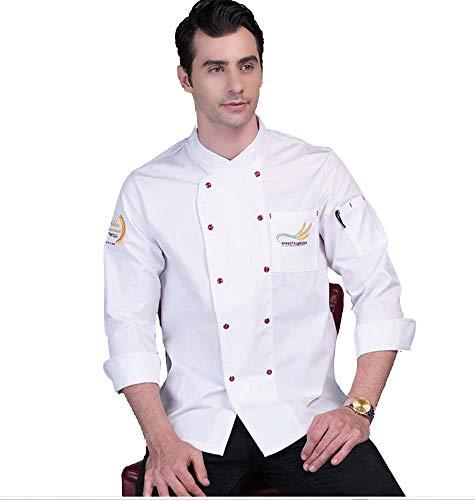 Chaqueta Chef Uniforme Profesional Cocina Hotel Sushi Abrigo de Cocinero Blanco Camisa...