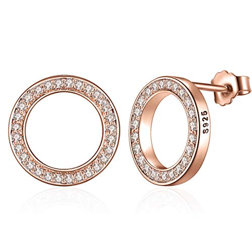 Presentski Rose Gold Plated Stud Earrings,Sparkling Circle Stud Earrings Women Sterling Silver Cubic Zirconia Stud Earrings for Girls