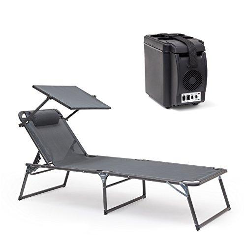Relaxdays Kühlbox elektrisch, 6l Isolierbox für Auto, Tragegurt, Warmhaltebox 12V 230V, HxBxT: 27 x 18 x 33 cm, schwarz