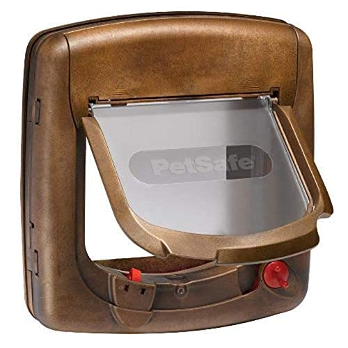 PetSafe Deluxe Magnetische Katzenklappe, Magnetschloss, Inklusive Magnet Halsbandanhänger und Katzen Halsband, Selektiver Zugang, 4 manuelle Verschlussoptionen, Katzen bis 7kg, braun